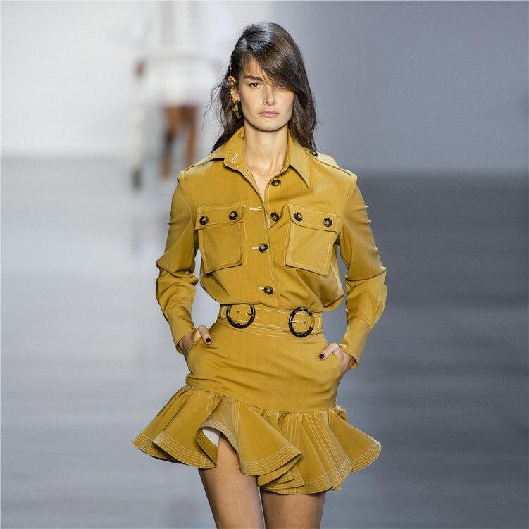 Automne Zim Piste Designer 2 pièce Set Femmes Jaune À Manches Longues Poches Boutons Blouse + Ruches Mini Jupe Deux Pièces tenues