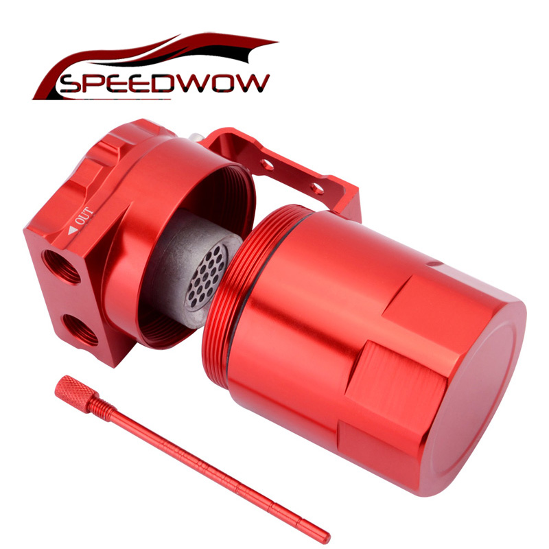 SPEEDWOW-Universal 300ml Aluminum Baffled Car Oil Catch Tank Can Reservoir Oil Catch Tank universal oil catch can square style red aluminum fuel catch tank universal racing car square tank page 2