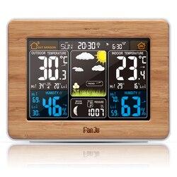 FJ3365 Wetter Station Farbe Prognose Digitale Barometer EU stecker mit Alarm Temperatur Feuchtigkeit Barometer Alarm Mond Phase
