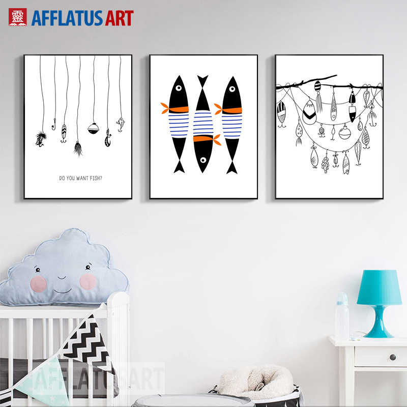 AFFLATUS Fish Wall Art Canvas Painting Nordic Poster Minimalism Posters And Prints Wall Pictures Nordic Style Kids Decoration