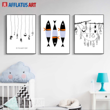 AFFLATUS Fish Wall Art Canvas Painting Nordic Poster Minimalism Posters And Prints Pictures Style Kids Decoration