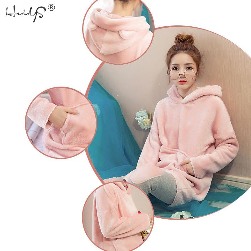 Image 4 - Pink Flannel Thick Sleepwear Women Winter 2 Piece Set Pajamas Set Hooded Cartoon Pyjamas With Pocket Female Casual Home Clothing-in Pajama Sets from Underwear & Sleepwears