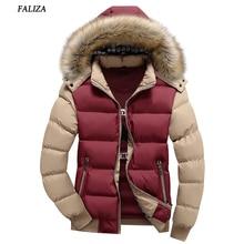 FALIZA New Brand Winter Men's Down Jacket Fur Hood Hat Slim Men Outwear Coat Casual Patchwork Thick Fur Collar Parka SM-MY-D