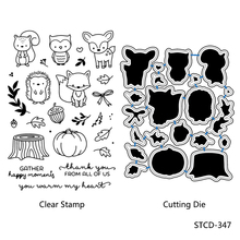 AZSG Lovely Animals Leaves Timber Pile Cutting Dies Clear Stamps For DIY Scrapbooking/Album Decorative Silicone Stamp Crafts