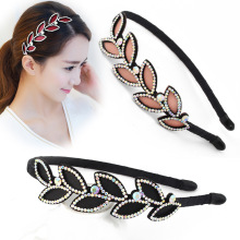 Korean Leather Rhinestone Simple Floral Headband Cute Girls Women Fashional All Matching Hair Accessories Jewelry Headdress