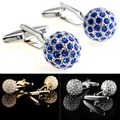 A16 3 Color French Shirt  Men Jewelry  Wedding Groom Men Crystal Cuff Links Business Men's Cufflinks VCC24 P25