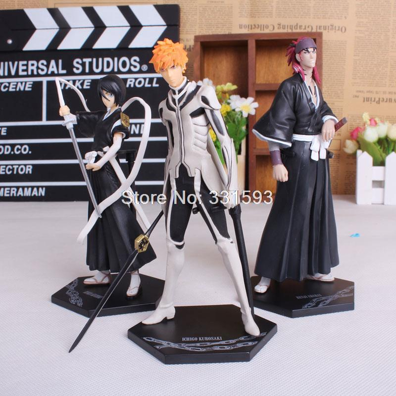 Bleach Kurosaki ichigo Abarai Renji Kuchiki Rukia Anime PVC Action Figures Collectible Toys 3pcs/set bleach kurosaki ichigo action figure toys japanese anime model pvc action figma toys for anime lover asgift 18cm n105