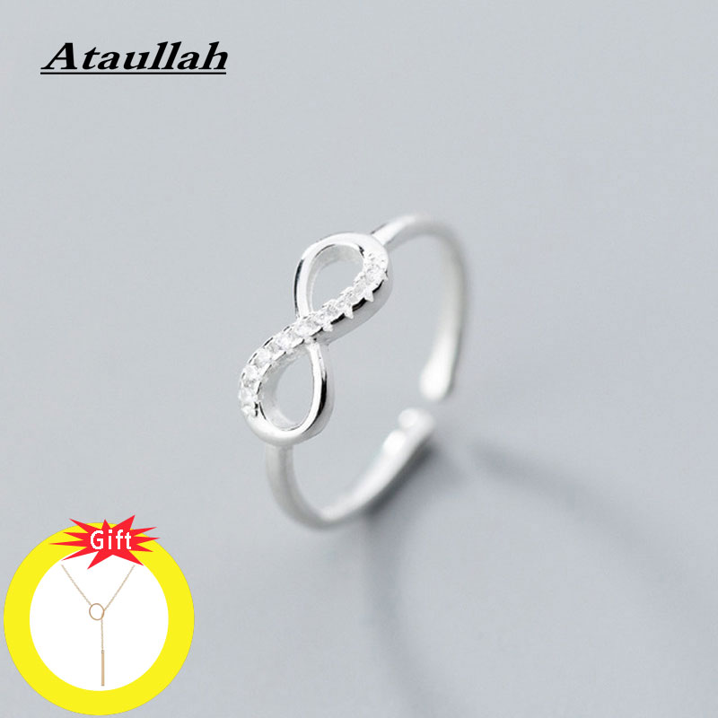 Ataullah Real 925 Sterling Silver Ring Simple Infinity Glint Finger Rings For Women Anniversary Jewelry Gift Bijoux RW060
