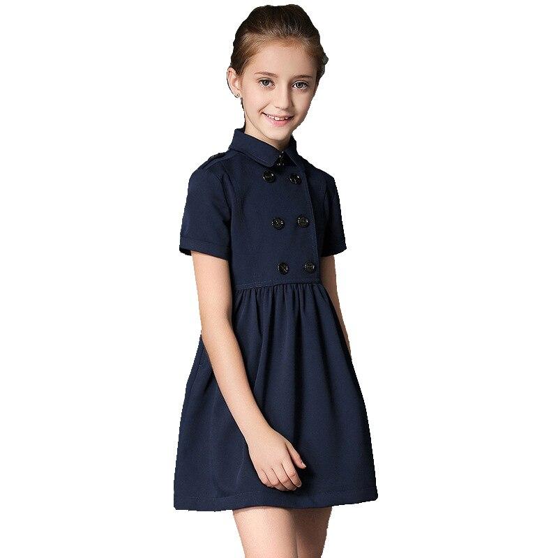 все цены на BRAND 2017 Summer Gilr Dress Child Double Breasted Vestido Children Princess Short Sleeved Cotton Mini Dress High Quality