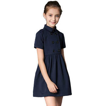 BRAND 2019 Summer Gilr Dress Child Double Breasted Vestido Children Princess Short Sleeved Cotton Mini Dress High Quality - DISCOUNT ITEM  5 OFF Mother & Kids