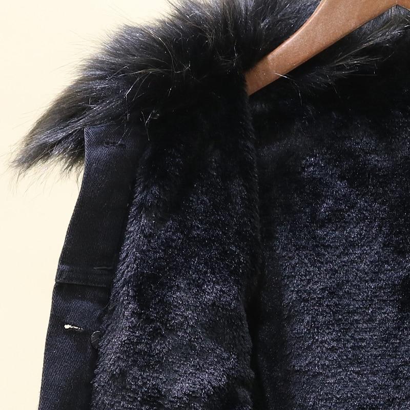 Grand Coton Lâche Veste Femmes D'hiver Fourrure De Perles Paillettes Ongles Denim Noir Manteaux Vêtements Épaisse Nouveau Courte Col Pf0Yqfv