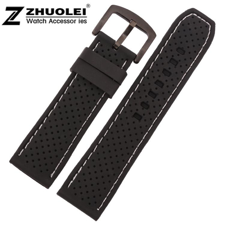 22mm 24mm Soft Black Waterproof Diving Silicone Rubber Watchband Bands Straps With White and red Stitched 28mm new high quality red waterproof diving silicone rubber watch bands straps