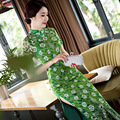 Hot Sale Chinese Women Green Silk Long Cheongsam Fashion Summer Style Lady Elegant Slim Qipao Dress Flower Size S-XXL
