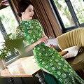 Venta caliente de Las Mujeres Chinas De Seda Verde Estilo de la Señora Elegante Delgado Qipao Largo Cheongsam Moda de Verano Vestido de Flores Tamaño S-XXL