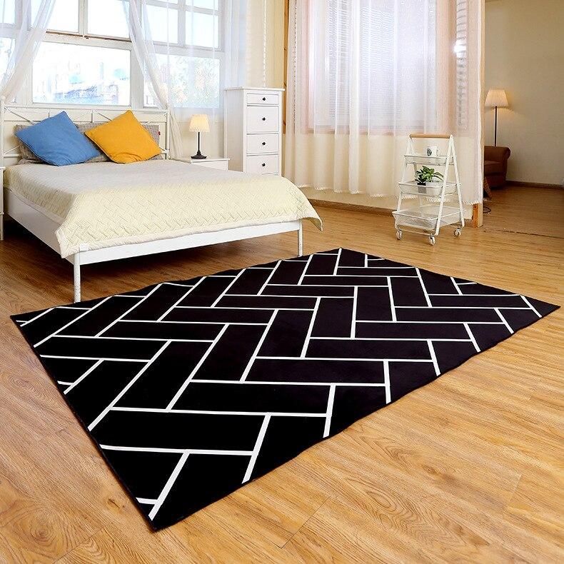Tapis à carreaux à rayures modernes salon chambre tapis grande taille imprimé tapis de salle de bain antidérapant décorer tapis de haute qualité