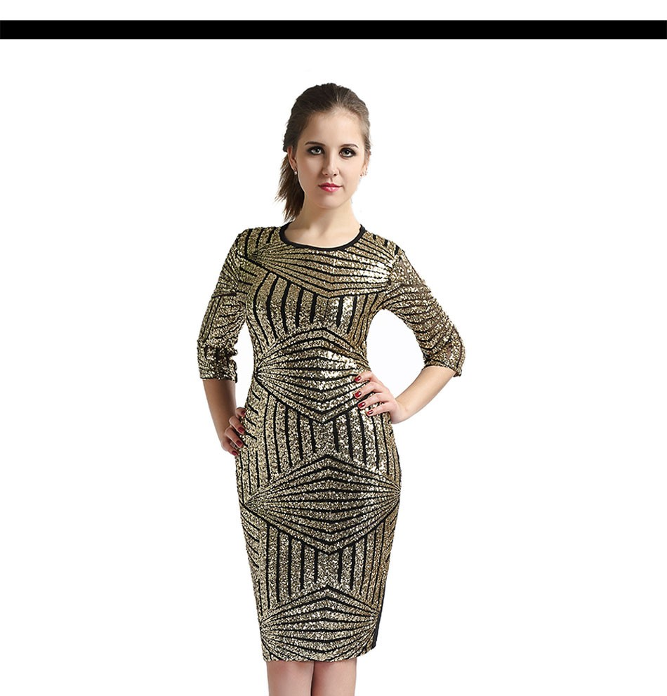 Geometric Golden Sequin Bodycon Pencil Evening Party Dress 1
