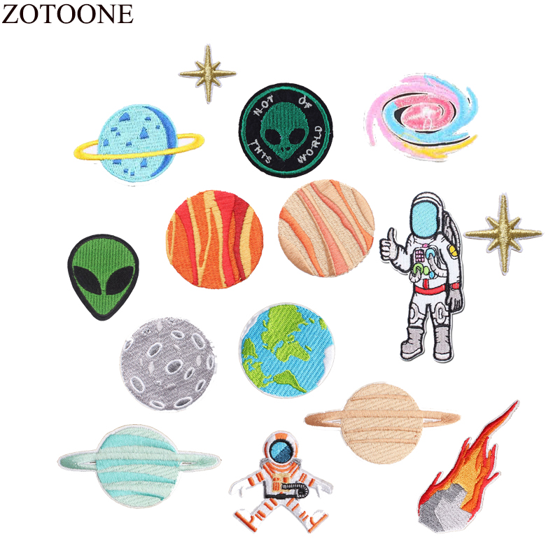 ZOTOONE Space Patch Iron On Astronaut Planet Patches For Clothing Backpack Embroidery UFO Alien Applique Fabric Stickers E