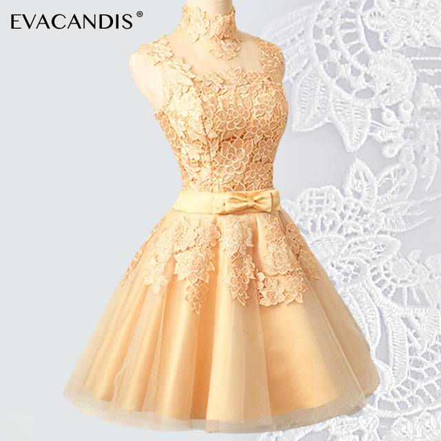 Us 50 69 38 Off Short Lace Party Dress Plus Size Embroidery Sleeveless Backless Evening Vintage Gold Women Christmas Vestidos De Fiesta In