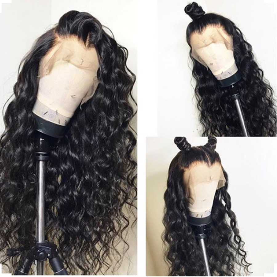 Brazilian Remy 13*6 Lace Front Human Hair Wigs Water Wave 150% Density Lace Frontal Wig Pre Plucked Fake Scalp Cap Glueless