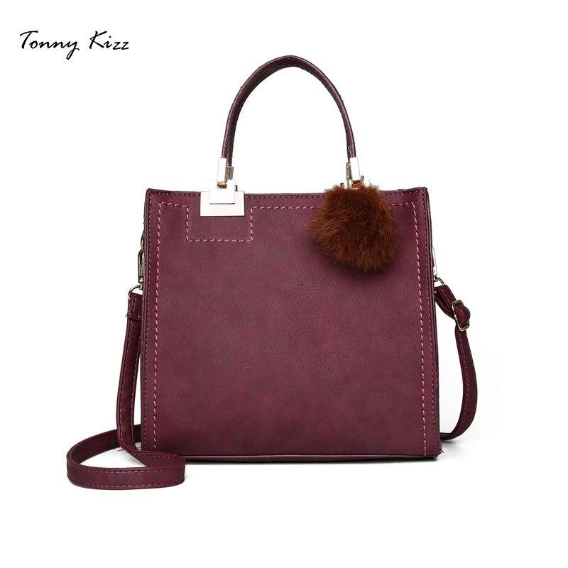 Tonny Kizz flap women handbags tote leather crossbody bags PU lady shoulder shopping hairball high quality bolsa feminina