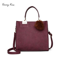 Tonny Kizz flap women handbags tote leather crossbody bags PU lady shoulder shopping hairball high quality bolsa feminina
