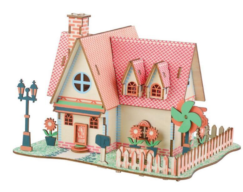 Красивый Подсолнух ферма Модель 3d трехмерные деревянные головоломки игрушки для детей Diy ручной работы деревянные пазлы