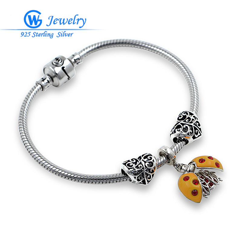 GW Brand Lady Bug Finished Bracelets 925 Solid Sterling Silver Fits Love and Wish Bracelet For Women Bangle Jewelry BRS278