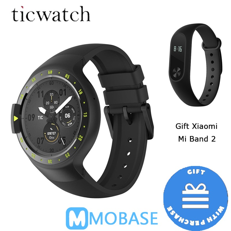 Ticwatch S GPS Sport Smartwatch Original Android Wear 2.0 Heart Rate Bluetooth WIFI MTK2601 Music Smart watch for Xiaomi