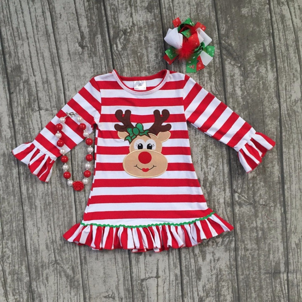 Christmas fall/winter baby girls cotton outfits red striped ruffle dress reindeer children clothes boutique match accessories kids ruffle tie neck striped romper