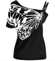 New Summer Đen Bướm T Áo Sơ Mi Nữ S-3XL Cộng Với Kích Thước áo Tắt Shoulder Cao Chất Lượng của Lady Quần Áo Miễn Phí Vận Chuyển 1115
