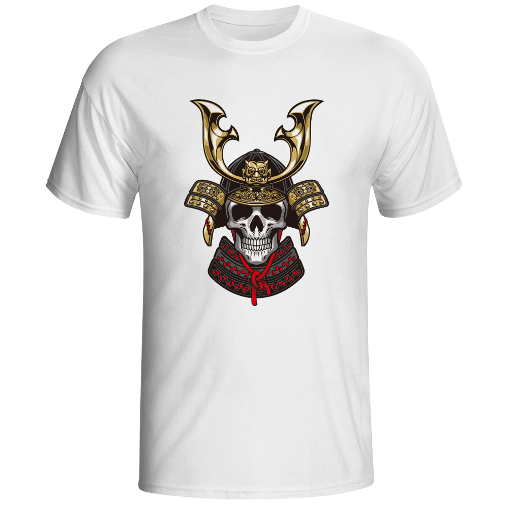 Bronze Japanese Warrior Skull T Shirt Rock Funny Creative Design Short Sleeve T-shirt Cool Fashion Novelty Print Unisex Tee