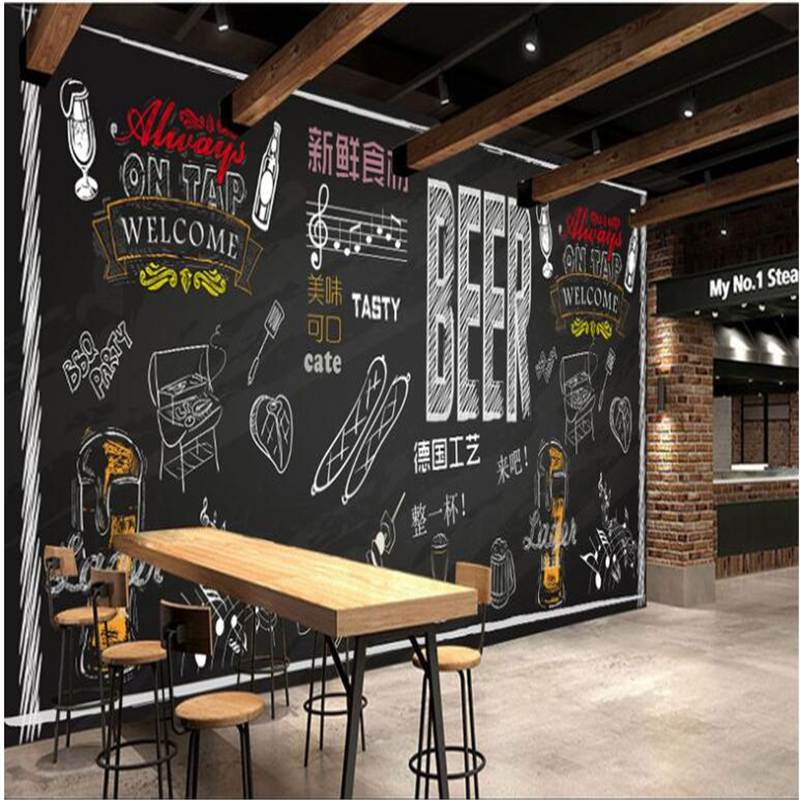 Beibehang Custom Wallpaper Mural Personality Hand Painted Beer Barbecue Background Wall Wall Papers Home Decor Behang