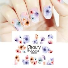 BeautyBigBang наклейки для нейл-арта, градиентные Цветочные наклейки, Цветочные наклейки, наклейки для маникюра, очаровательные украшения для нейл-арта