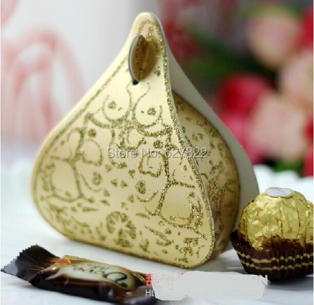 50PCS Hershey's Candy Boxes Romantic Gold Peach Heart Wedding Favours Box Water Droplet Gift Boxes Wedding Party Supplies