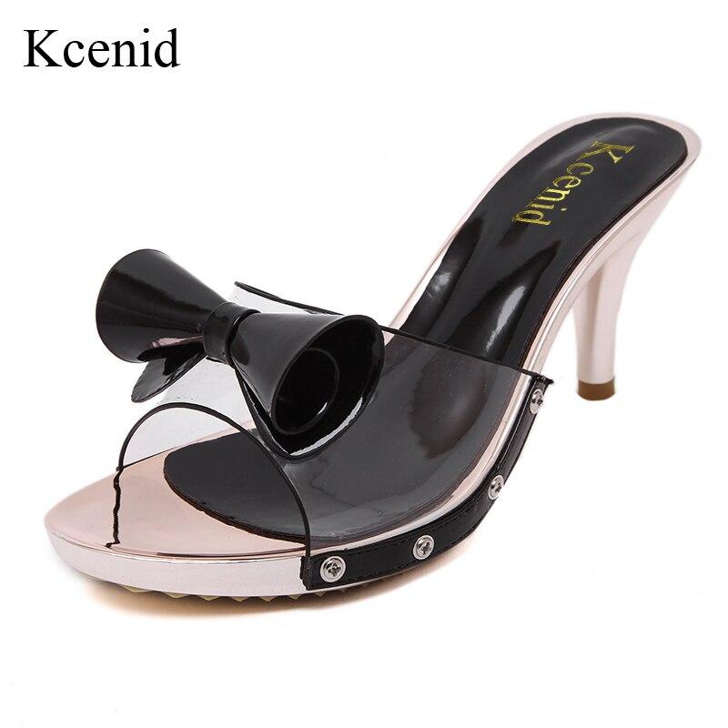 forme Taille De New 41 Hauts Hot Peep Chaussures Sexy Sandales Kcenid Talons Ventes Diapositives Plate Femmes Transparent Pvc black White Grand Doux Orteil Bowtie Femme 1FUwq