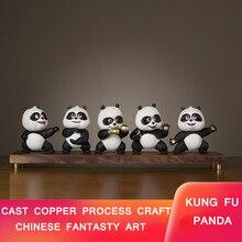 E-FOUR Cast Copper Panda Ornament Bronze 5 Pieces 8 kg Traditional Artist Work Kung Fu Doll Unique Business Gift Decor Car
