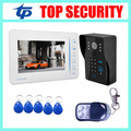 Village 7 inch color video door phone with RFID and password card reader access control system support 4 channel camera input
