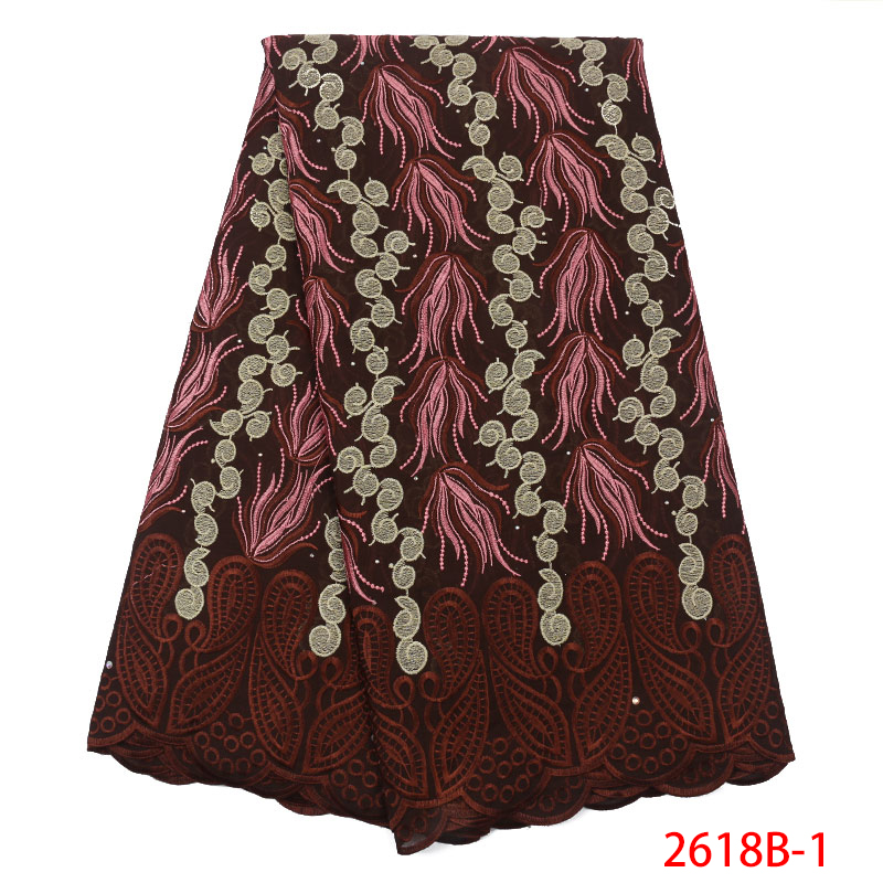 African Dry Lace Fabric Swiss Voile Laces In Switzerland High Quality Lace Nigeria Lace Fabric With Stones KS2618B-1
