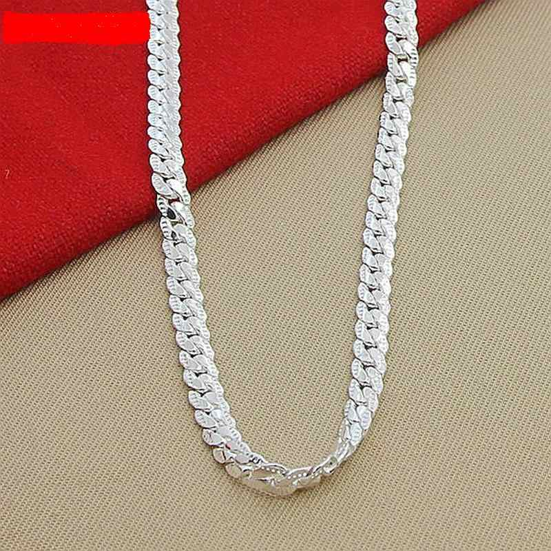 New Women 6 MM Lateral Full Necklace In Silver 925 Sterling Silver Fashion Jewelry Women Men Link Chain Necklace