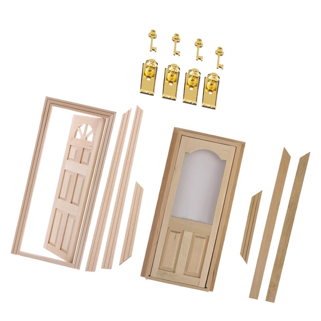 1/12 Doll House Miniatures Wooden Door Set Unpainted & Metal Door Lock With Keys