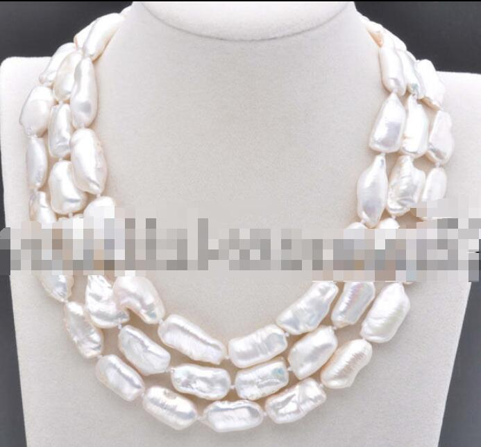 Free shipping 20mm White BAROQUE DENS Biwa REBORN KESHI PEARL Necklace 48inch