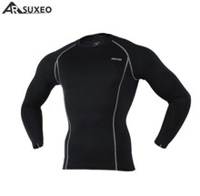 цены на ARSUXEO Men Compression Tights Sport Men T-shirts Running Long Sleeves Shirts Workout GYM T Shirt Clothing Running Shirt  в интернет-магазинах