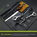 """5.5"""" black white hot hair scissors hairdressing scissors hair clipper kids cabelereiro teflon scissors thinning shears haircut"""