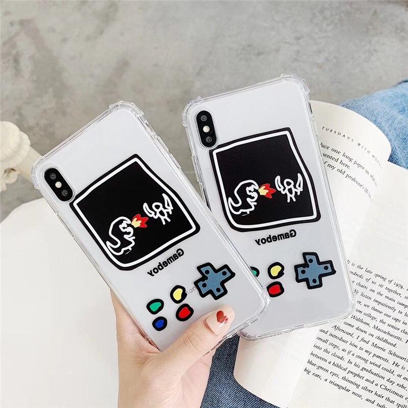 Cartoon transparent game machine phone case For iphone XS MAX XR X 6 6s 7 8plus super anti-drop TPU protection cover