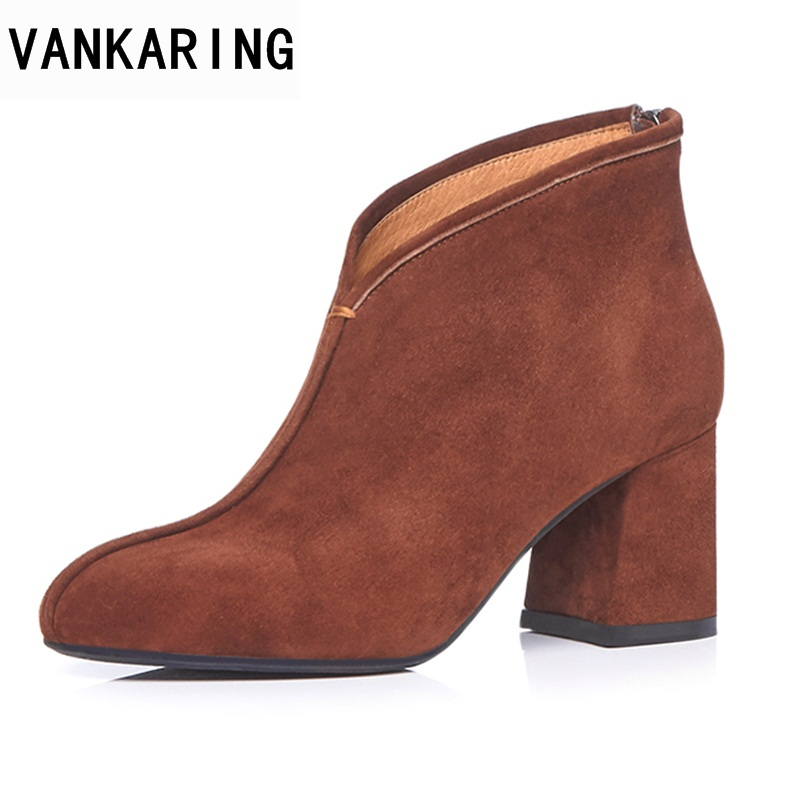 VANKARING shoes woman boots new fashion genuine leather autumn winter high heels round toe shoes woman dress party riding boots