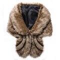 Recién diseñar imitado mantón de la piel del faux gruesa bufanda de piel de conejo capa de piel de invierno las mujeres de piel caliente pashmina