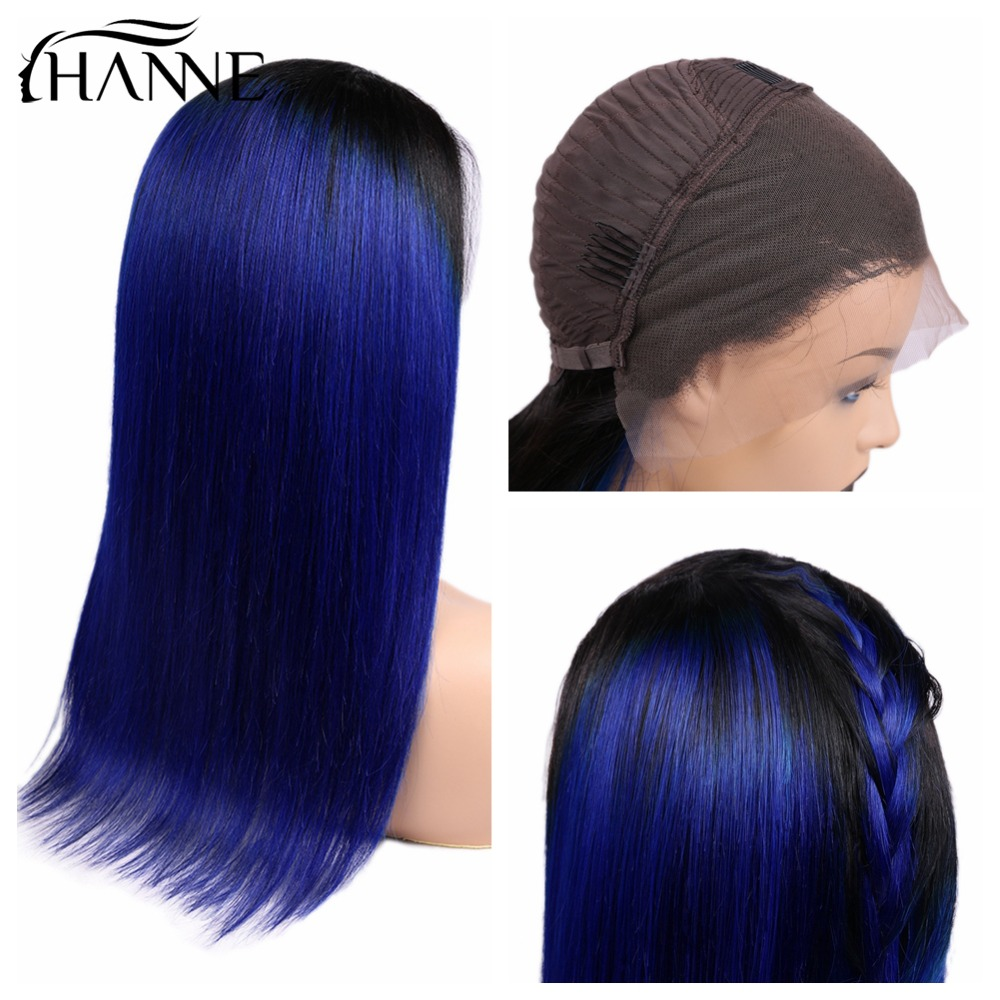 HANNE Hair 13x4 Frontal Human Hair Wigs Pre Plucked With Baby Hair Straight Peru Remy Hair Wig Ombre 1B/Blue Color For Women