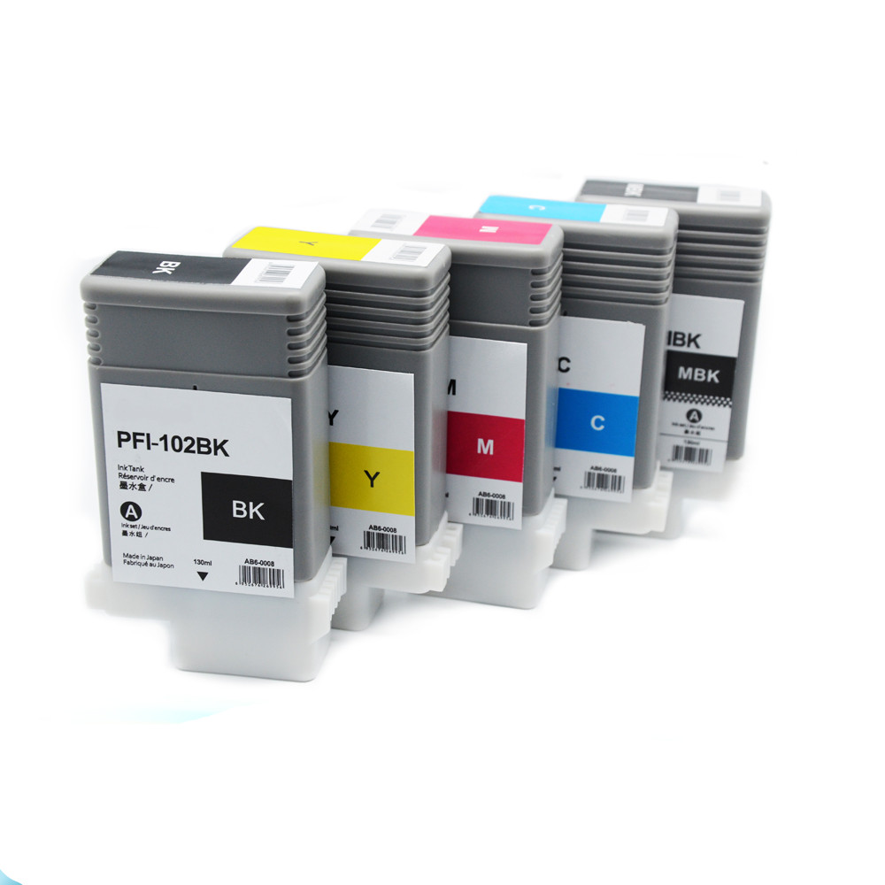PFI102 Pigment ink cartridge for Canon Plotter iPF510/iPF610/iPF710/iPF605/iPF720/iPF500/iPF700/iPF600/iPF650/iPF755/iPF750/760 pfi 102 130ml 5 pack compatible ink cartridge for imageprograf ipf605 ipf610 ipf700 ipf710 ipf720 printers