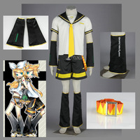 Athemis Vocaloid Kagamine LEN Cospaly Sailor Suit Girls Uniform With Belt Lanyard Accessories Cosplay Costume 7