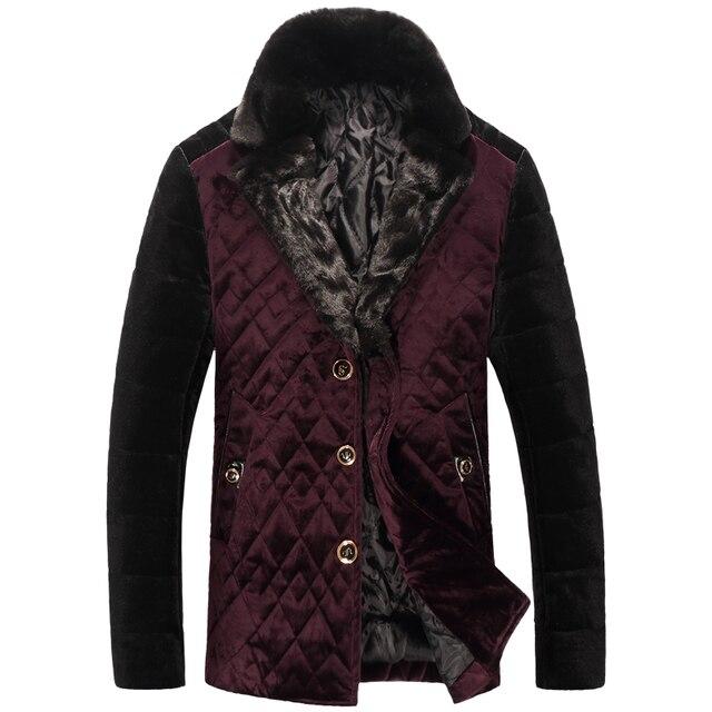 2016 nuevo invierno de la llegada hombres de alta calidad de tela De Terciopelo Abajo y Parkas, hombres abrigo de invierno, Plus-size M, L, XL, 2XL, 3XL, 4XL